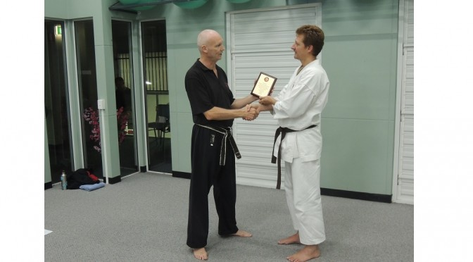 Shihan Martin Presents Morney with a plaque