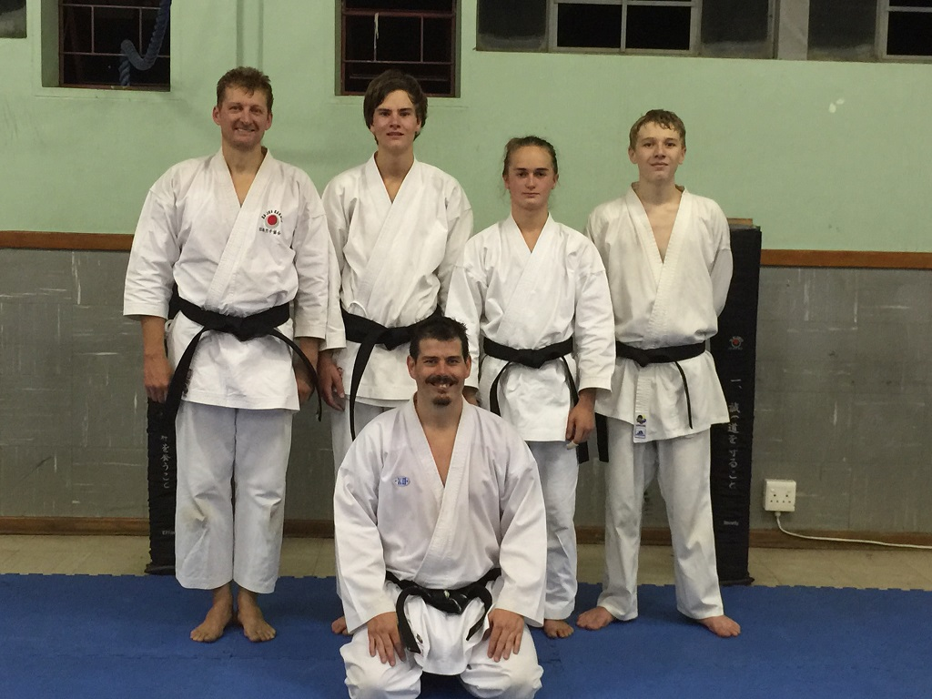Shodan Grading - March 2015 in-front: Sensei Eugene Oosthuizen right-to-left: Dewald Bekker, Liam van Rooyen, Marcel Wouda, Morney Plescia